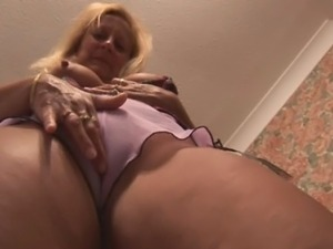 Busty mature blonde with gorgeous body does upskirt and panties tease then...