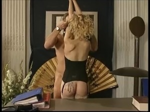 Pierced blond in latex  double penetrated and fisted