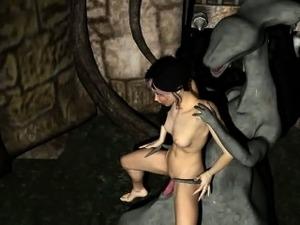 3D cartoon brunette gets fucked hard by a monster