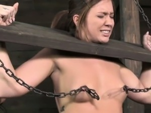 Nipple clamped sub restrained by dom