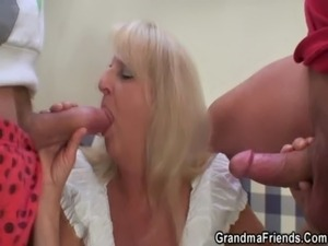 Blonde granny in hot threesome orgy free