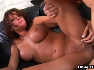 Raunchy brunette with massive juggs Tory Lane slobbers all over her naughty...