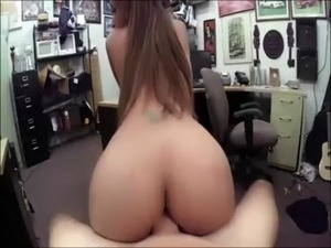 Woman pawns pussy to sell gym equipment to the pawnshop owner athis office free
