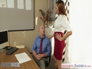 Stockinged babe Serena Ali fuck in the office free