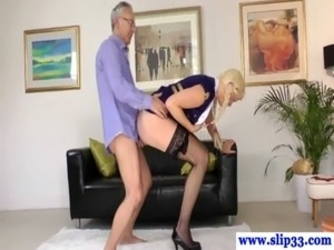 Classy babe devours old mans hard cock free