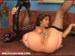 Busty babe Felony fills her pussy with a monster dildo free