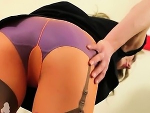 Sexy secretary fingering and stripping