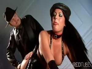 Clad in leather, one hot brunette bimbo gets fucked in the ass