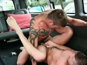 Muscled gay dudes drilling each others butts
