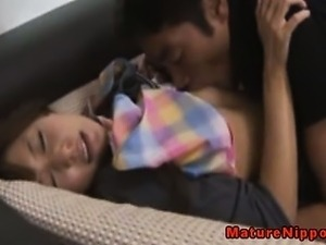 Japanese mature cougar gets horny