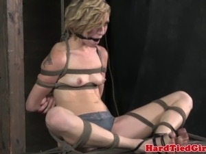 Breast bondage sub gagged after tt with nipple clamps
