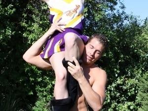 Slim cheerleader Ally Ann banged by massive dick