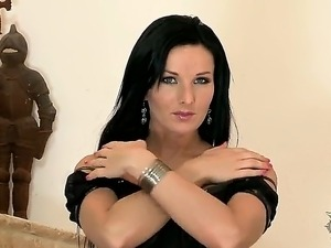 What the hell is going on under my dress Sexy Vanessa Jordin strips on...