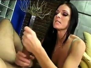 Sexy Brunette College Girl Strokes Cock