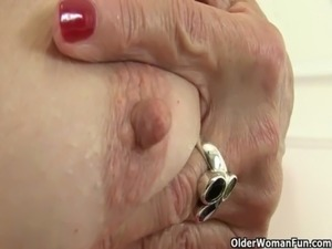 British granny Amanda Degas masturbates in bathroom free