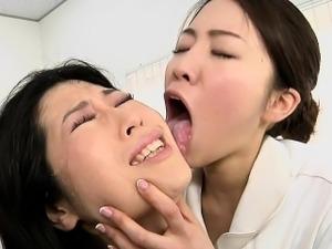 Japanese lesbian erotic spitting massage clinic Subtitled