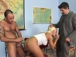 Blonde Chick Chokes On Cock And Does Anal