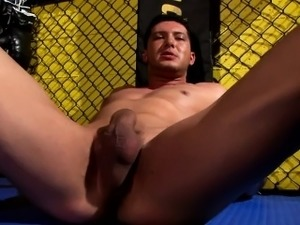 Will Evans in a post-workout, solo jerk-off scene at the gym