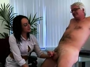 British femdom office ladies jerk CFNM office perv