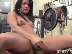 Vita Masturbates with a Dildo in the Gym