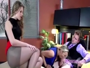 MILF blonde big tits teach make blowjob with boss in office free