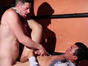 Suited office hunk pounds latin colleagues tight ass