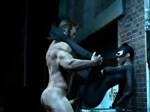 3D Catwoman gets fucked hard outdoors by Wolverine