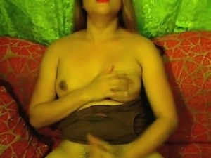 Glamorous Shemale seducer shows big boobs and cock