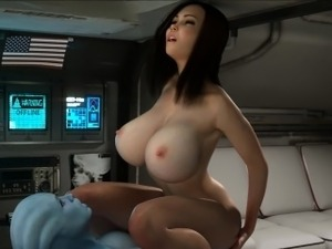 Sexy 3d babe gets fucked by alien shemale