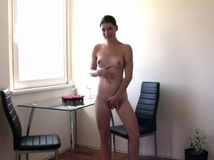 Cute brunette gets soaked in squirt