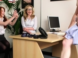 Ana and Candy get a coworker to strip