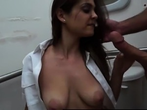 Latina amateur in uniform sucks big cock for cash on spycam