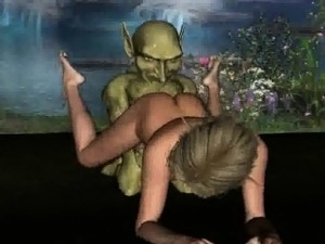 3D elf babe getting fucked in the woods by a goblin