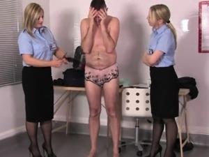 Uniformed mistresses spanking sissy sub