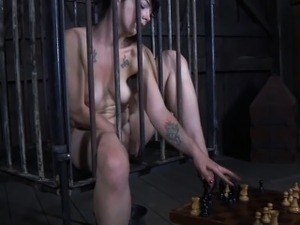 Caged sub humiliated with chess game