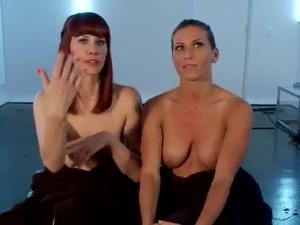Maitresse Madeline Strapon shafting Ariel X inside tied female domination movie