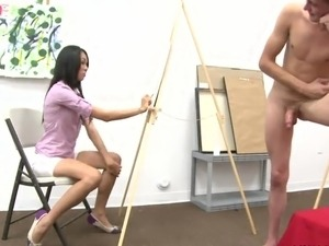 Art Class Becomes suck CFNM Party close to Kinky Coeds