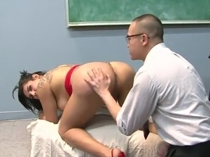 Pigtailed shemale has sex Her Japanese Teacher inside the Classroom