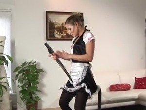 The Dirty gal inside Housemaid Uniform playthings Her taco surrounding the...