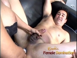 Beautiful brunette dominatrix makes her slave cum after some