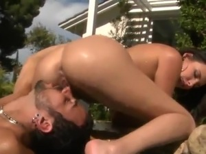 Danica Dillon Gives the cocksuck inside the Pool And has made love And Facialed