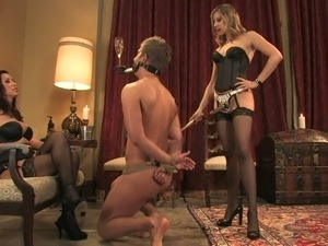 Handsome slaveboy spends time with his queens