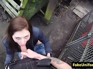 Cheating gf plowed in public by real cop