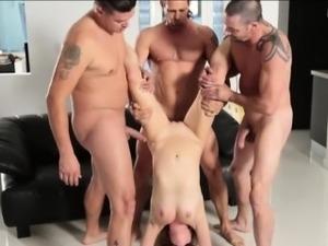 Three pervert guys fucked tight bitch