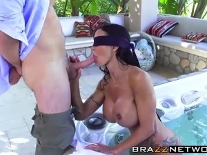 Adorable babe gets slammed hard outdoor