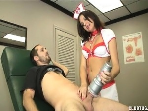 Naughty nurse loses her outfit and pleases a patient with her hands