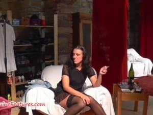 Wild czech MILF fucks with younger guy at the CASTING