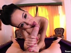 Asian beauty Amai Liu pleases a huge stick with her lovely lips in POV
