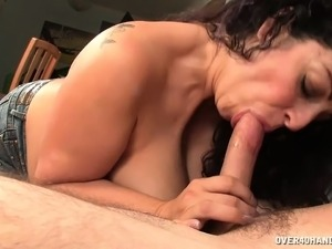 Hung stud has his girlfriend's bodacious mom deepthroating his shaft