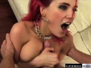 Red haired beauty with big breasts enjoys a session of intense fucking